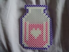 Pastel Strawberry perler bead Milk by *PerlerHime on deviantART