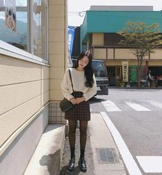 Korean Daily Fashion- Outdoor Look in Autumn Popular Autumn Fashion in Korea Light blue sweater with skinny jeans Striped. Korean Winter Outfits, Korean Fashion Summer, Korean Girl Fashion, Korean Fashion Casual, Korean Fashion Trends, Ulzzang Fashion, Korean Street Fashion, Korea Fashion, Korean Outfits