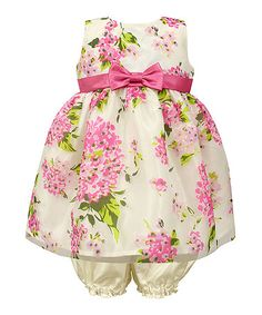 Look at this #zulilyfind! $29.99 Fuchsia Pink Floral Bow Fit & Flare Dress & Bloomers - Infant #zulilyfinds
