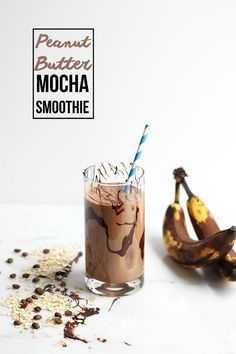 Peanut Butter Mocha Smoothie recipe | Fuel your morning or recover from a tough workout with this delicious smoothie. A healthy excuse to have chocolate for breakfast!