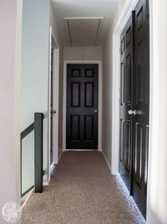 Black interior doors. From dirty and drab to glossy and glam.