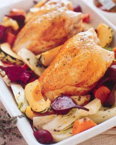 Apricot Roast Chicken with Vegetables Recipe