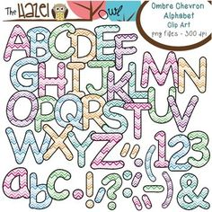 Alphabet Clip Art in Ombre Chevron Print!  Lowercase, uppercase, and punctuation!  $