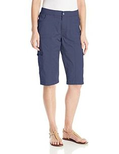 78dc73f8a6 Lee Women's Petite Relaxed Fit Autumn Knit Waist Cargo Capri Pant, Blue  Haze, 14