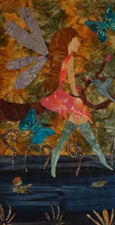 Fabric collage, machine stitched, mounted on canvas. Designed and created by Chris Allaway 12x20 Faeries, Collage, Stitch, Canvas, Painting, Design, Art, Tela, Art Background