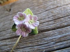 English Bone China pink flower stick pin / flower brooch /
