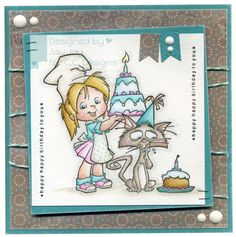 Roberto's Rascals Bakers Nancy, Roberto's Rascals Cupcake Kitty, AmyR Stamps Great Greetings, C.C. Cutters Make A Card #3 Die