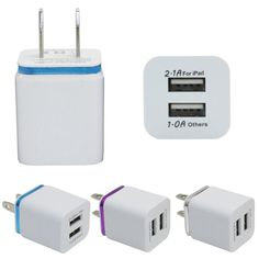 USB Dual Home Charger Adapter Dual Port AC Usb charger Charging Adapter For iPhone 7 the tablet Cellphone charging for tablet - 10 PCS