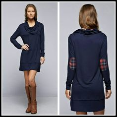 The Lexington Dress in Navy size S  L XL Beautiful dress with plaid patch on the elbows cowl neck Material is rayon and spandex  Perfect for the season  Size S L XL  PLEASE INDICATE YOUR SIZE   PRICE FIRM UNLESS BUNDLED  Follow me on Facebook Sweet-bb Boutique  Dresses Long Sleeve