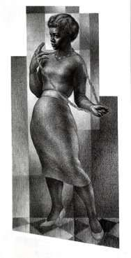 Eartha Kitt by Charles White from the film Anna Lucasta.  I watched it tonight and this and two other drawings appeared at the end.  Beautiful work!