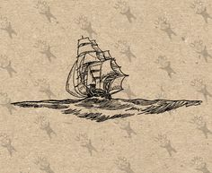 Vintage Image Nautical Sailing Ship Instant Download picture Retro drawing Digital printable clipart print Black white graphic HQ 300dpi by UnoPrint on Etsy #hq #png #bw #Ephemera #diy #old #book #illustration #gravure #inspiration #retro #antique #vintage #300dpi #craft #draw #drawing  #black #white #printable #crafts #transfer #decor #hand #digital #collage #scrapbooking #quality