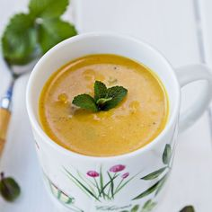 Thai Roasted Sweet Potato Soup is made creamy with coconut milk and packed with Thai flavor. #sweetpotatosoup #thaisoup