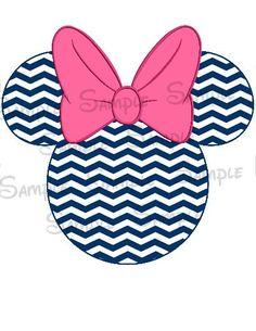 Navy Blue Chevron Digital Printable Mouse Head file DIY Personalize-able on Etsy, $2.00