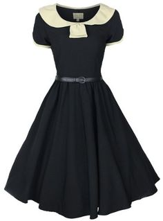 LINDY BOP CLASSY VINTAGE 1950s BLACK + CREAM COLLARED FLARED SWING PARTY EVENING DRESS: Amazon.co.uk: Clothing
