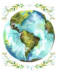 Dear Earth Art Print Watercolor Wall Art by thewheatfield Art Inspo, Kunst Inspo, Painting Inspiration, Tattoo Inspiration, Style Inspiration, Art And Illustration, Watercolor Illustration, Food Illustrations, Watercolor Walls