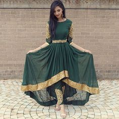FatimaBi Plus size Fashion Indian Wedding Embroidery Green Anarkali Kameez Dress Stylish Dresses, Fashion Dresses, Dresses For Work, Stylish Outfits, Fashion Top, Fashion Night, Indian Attire, Indian Wear, Afghan Dresses