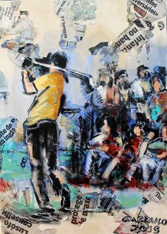 """Jogador de Golfe"" / ""Golf player"" Técnica mista sobre tela / Mixed media on canvas 70x50 cm 2015"