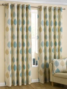 Homescapes Duck Egg Blue Cream Eyelet Ring Top Cotton Curtains Pair Width 66 x… Indian Curtains, Curtains Uk, Plain Curtains, Leaf Curtains, Cotton Curtains, Curtains With Rings, Scatter Cushions, Duck Egg Blue And Brown, Teen