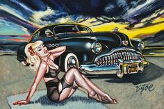 Black Magic by Big Toe Classic Car Sexy Pin-Up Tattoo Canvas Art Print – moodswingsonthenet