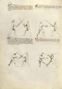 Combat with Sword Artist/Maker(s): Fiore Furlan dei Liberi da Premariacco, author [Italian, about 1340/1350 - before 1450] Date: about 1410 Medium: Tempera colors, gold leaf, silver leaf, and ink on parchment Dimensions: Leaf: 27.9 x 20.6 cm (11 x 8 1/8 in.) Object Number: 83.MR.183.25v Department: Manuscripts