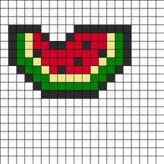Watermelon Perler Bead Pattern | Bead Sprites | Food Fuse Bead Patterns