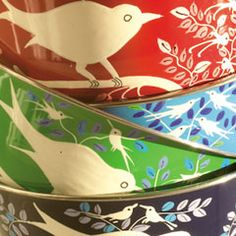 Hand painted fairtrade bowls from Fairwind Lovely Things, Fair Trade, Dining Area, My Dream Home, Bowls, Eye Candy, Goodies, Hand Painted, My Love