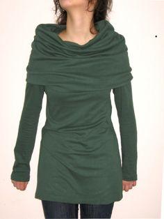 Green ( bottle) tunic, dress,long sleeves, cotton jersey.. $67.00, via Etsy.
