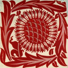 Wm Morris Gallery: white square tile with red sunflower design