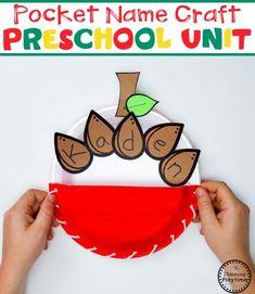 Pocket Apple Name Craft for Preschool Name Activities Preschool, Preschool Apple Theme, Apple Activities, Preschool Colors, Fall Preschool, Preschool Activities, Preschool Apples, Preschool Worksheets, September Preschool Themes