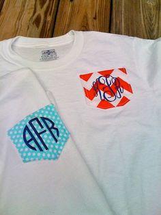 Monogrammed Pocket Tshirts by GardeniaGirlMonogram on Etsy, $22.00