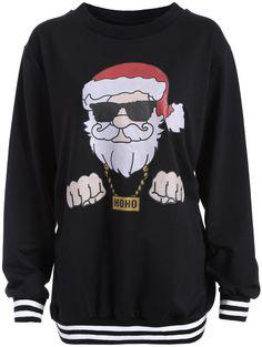 Christmas Santa Print Varsity Striped Sweatshirt