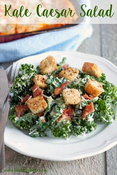 Kale Caesar Salad with Homemade Croutons