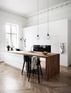 Mano Kitchen Bathroom by Kvik Interior Design Kitchen Bathroom Kitchen Kvik Mano Minimalism Interior, Scandinavian Kitchen, Kitchen Flooring, Scandinavian Kitchen Design, Kitchen Remodel, New Kitchen, House Interior, Home Kitchens, Kitchen Design