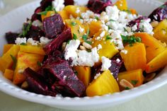 Roasted Beets with Goat Cheese and Pine Nuts