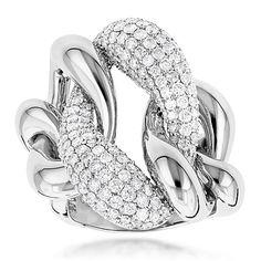 Diamond Cocktail Rings: Two Tone Designer Diamond Ring 5.6ct 18K Gold