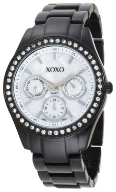 #Cheap #Watch , XOXO Women's XO115 Black Enamel and Rhinestone Accent Bracelet Watch