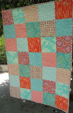 persimmon & aqua quilt by sewfunbymonique, via Flickr
