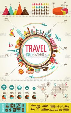Travel and tourism infographics with data icons, elements by marish - Stockvectorbeeld: