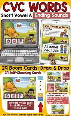 The kids-activity-themed digital Boom Cards will reinforce students' understanding and spelling of final consonants (ending sounds) of CVC Short Vowel A words. Phonemic Awareness Activities, Social Studies Resources, Teaching Phonics, English Reading, Short Vowels, Australian Curriculum, Cvc Words, Letter T, Fun Activities For Kids