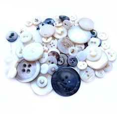 Vintage Shell Buttons, 73 Antique Mother of Pearl Buttons