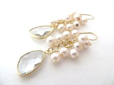 Modern spin on pearl cluster earrings for your special day - Pearl Earrings Gold Earrings Bridal Jewelry by LoveShineBridal, $36.00 #LoveShineBridal #Pearl #Wedding