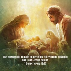 But thanks be to God! He gives us the victory through our Lord Jesus Christ. Images Bible, Images Of Christ, Pictures Of Christ, Bible Pictures, Pictures Images, Jesus Art, God Jesus, Baby Jesus Pictures, Padre Celestial