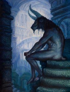 "carga-de-agua: "" Kristina Carroll - Minotaur. American Surrealist, Symbolist and Fantastic illustrator.. """