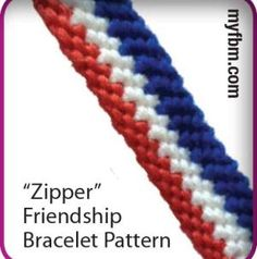 Zipper friendship bracelet pattern! Click for instructions :) Happy knotting