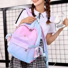 Independent Headphone Hole Backpack Gradient Wild Simple Student Bag Source by himibra Bags College Bags For Girls, Bags For Teens, Girls Bags, Cute Mini Backpacks, Stylish Backpacks, Big Backpacks, Backpack Bags, Leather Backpack, Fashion Backpack