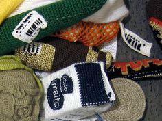 Crocheted Finnish groceries made by an artist, Liisa HIetanen.