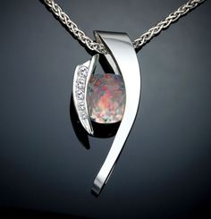 opal necklace October birthstone statement by VerbenaPlaceJewelry
