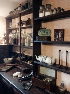'Pills and Potions' in the Doctors Room at Blists Hill Victorian Town, Ironbridge Gorge Museum Trust.
