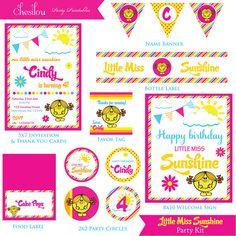 Customized Little Miss Sunshine Digital Printable Birthday Invitation and Party Kit