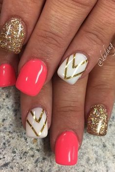 Golden Rose Nails – 36 Summer Nail Designs You Should Try in July – Nagellack Diy Nails, Cute Nails, Pretty Nails, Manicure Ideas, Gel Manicure, Shellac, Gel Nail Art Designs, Cute Nail Designs, Nails Design